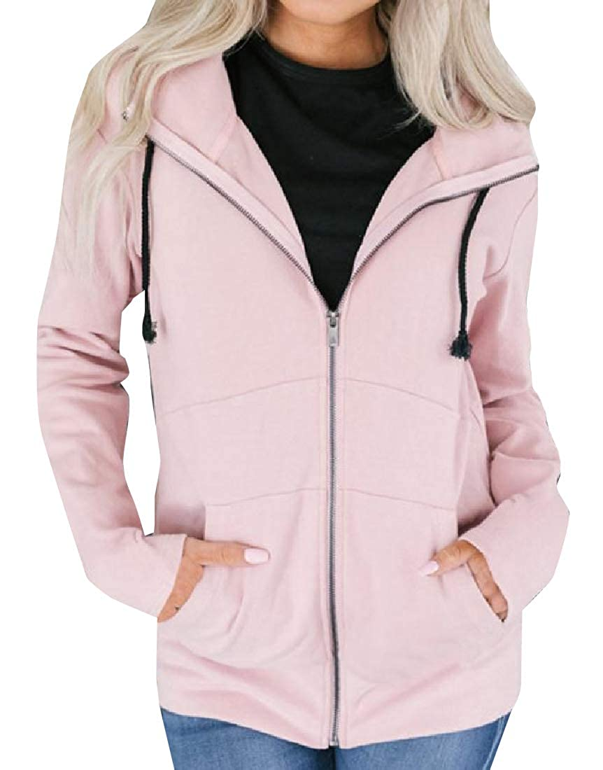 YUNY Womens Pure Color Classic Fit Blouson Jacket with Strings Pink M