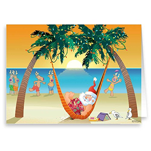 Beach Sunset Ralaxing - Beach Christmas Cards - 18 Cards & Envelopes