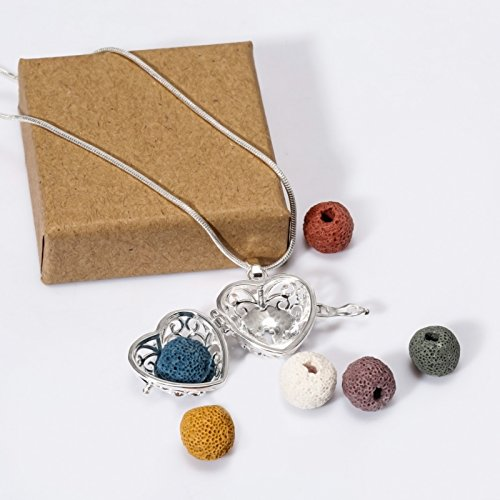 Sufiniya Heart Aromatherapy Essential Oil Diffuser Perfume Necklace Locket Pendant and 6 Colours Lava Stone Beads with Adjustable Snake Chain-Hollow Cross by Sufiniya (Image #3)