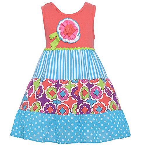 Price comparison product image Rare Editions Little Girls Coral Polka Dot Stripe Floral Applique Dress 3T