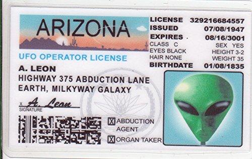 Arizona Alien Fun Fake ID License - Operator License Plate