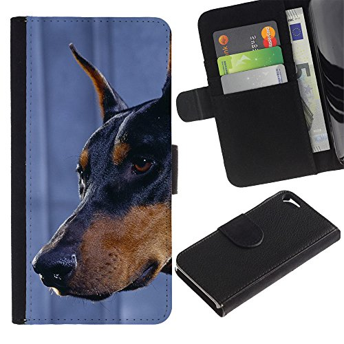 TaiTech / Housse Coque étui Etui en cuir - Doberman Pinscher Canine Dog Miniature - Apple Iphone 5 / 5S