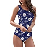 Zando One Piece Swimsuits for Women Athletic Training Swimsuits Tummy Control Swimsuits Bathing Suits for Women Sunflower (Fixed pad) 10-12
