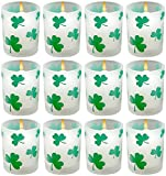 Biedermann & Sons Frosted-Glass Votive Candleholders, Green Shamrocks, Set of 12