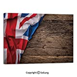 Modern Salon Theme Mural Flag of United Kingdom on Old Oak Wooden Board English Nation Country Britain Painting Canvas Wall Art for Home Decor 24x36inches Multicolor