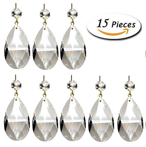14 Piece Reg (Aiskaer ® 15 Pieces Clear Teardrop Crystal Chandelier (Gold Pinning,