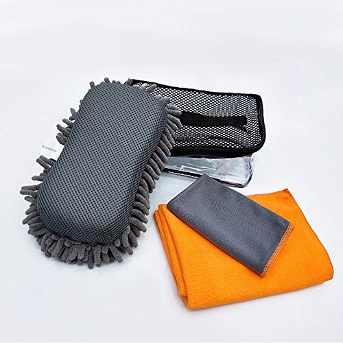YUKING Car Wash Kit 4 Pieces Car Wash Sponge Car Cleaning Tools Kit Combination Car Washing Towels Cloth Exterior Interior Auto Detailing Supplies Microfiber Towels with Storage Bag