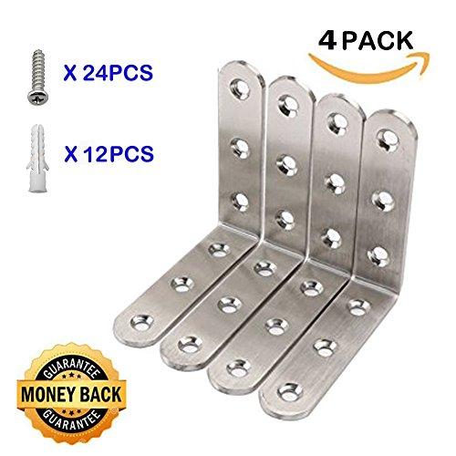 Deezio Corner Braces Stainless Steel L Shaped Right Angle Brackets, Joint Fastener, Shelf Support for Desk Edge, Box, Brushed Nickel, Pack of 4(100x100x3mm) - Nickel Corner Bracket