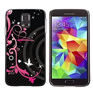 Paccase / SLIM PC / Aliminium Casa Carcasa Funda Case Cover - Black Hearts Spring Butterfly Floral - Samsung Galaxy S5 SM-G900