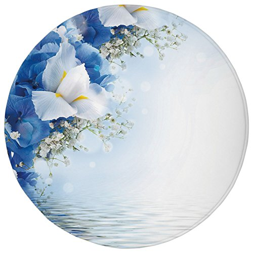 Dreamy Hydrangea (2.95 Ft Round Bathroom Rug,Light Blue,Blue Hydrangeas and White Irises over The Sea Romantic Bouquet Dreamy,Blue Light Blue White,Flannel Microfiber Non-slip Soft Absorbent Kitchen Floor Bath Mat Carp)
