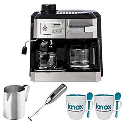 DeLonghi Combi BCO330T Drip Coffee & Espresso Machine + Stainless Steel Frothing Pitcher + Handheld Milk Frother + 16oz. Mug with Spoon (2 Pack)
