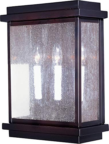 Maxim Lighting 4650CDBU Three Light Burnished Seedy Glass Outdoor Wall Light, Black