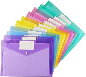 Plastic Envelopes Poly Envelopes, Sooez 20 Pack Clear Document Folders US Letter A4 Size File Envelopes with Label Pocket & Snap Button for School Home Work Office Organization, Assorted Color