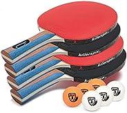 Killerspin JET SET 4 Ping Pong Paddle Set with 6 Balls Ð Beginner Table Tennis Racket Set| 5 Layer Wood Blade,