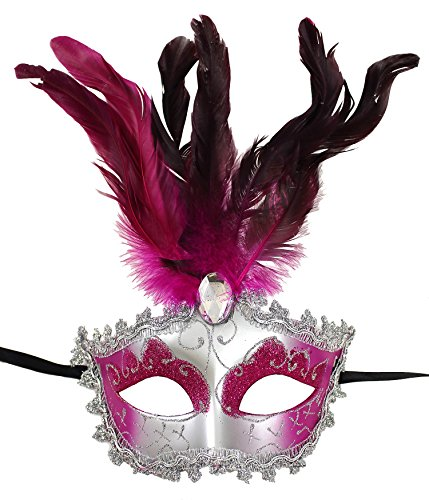 Enimay Women's Venetian Feathered Masquerade Mask Halloween Party Costume Fuchsia One Size (Feathered Masquerade Mask)