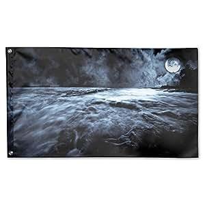 Nicokee Banderas para jardín de la noche de la luna, 150 x 89 cm, bandera de poliéster para interiores y exteriores, banderas para decoración de pared