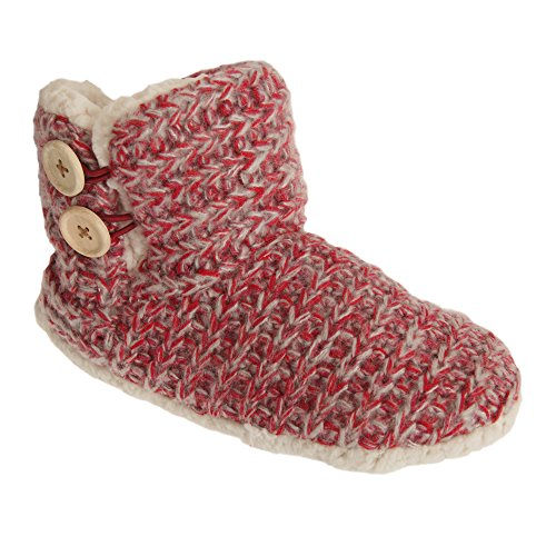 Detail Red with Textiles Ladies Womens Knitted Boot Slippers Button Universal 4Tqaw8