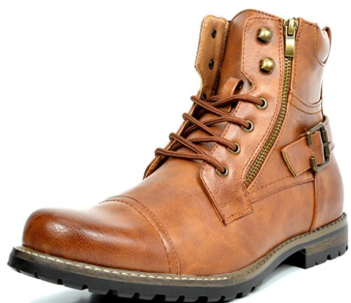 Leather Buckle Boot - Bruno Marc Men's Philly-3 Brown Military Combat Boots - 12 M US
