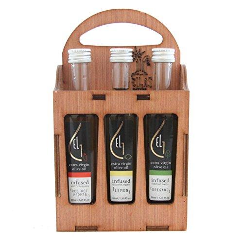 Pellas Nature   Organic Herb Infused Extra Virgin Olive Oil   Lemon, Oregano, Red Pepper Finishing Oil   Wooden Gift Set   3x1.69oz
