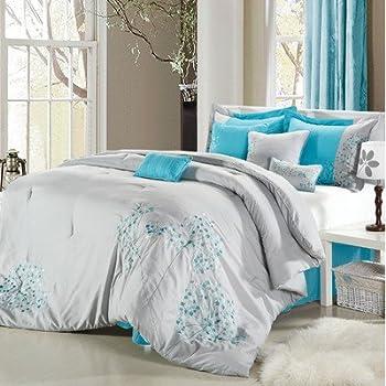 Amazon Com Pink Floral 8 Piece Comforter Set Size Queen