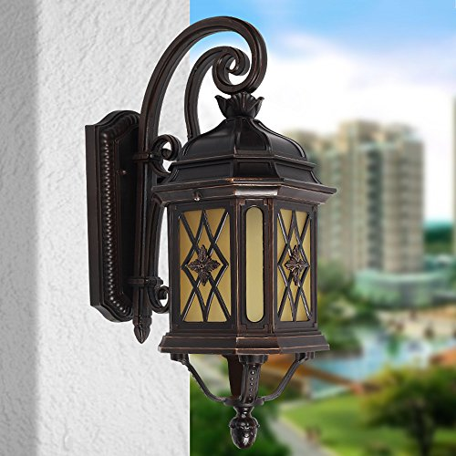 CGJDZMD Wall Sconce European Retro Industrial Outdoor European Garden Wall Lamp Courtyard Light Balcony Wall Lamp Outdoor Villa Wall Lamp Walkway Outdoor Lawn Wall Lights, E27 Socket by CGJDZMD