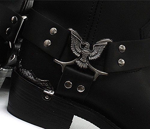 Grinders Nero Eagle Uomini Hi cowboy Moto pelle occidentali Nuovi Stivali