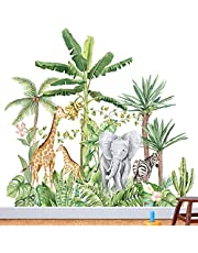 Groot formaat bosdieren boom muurstickers, kinderkamer dieren muurstickers, jungle muurstickers, kinderfoto muurstickers, babykamer slaapkamer wanddecoratie (H: 104cm)