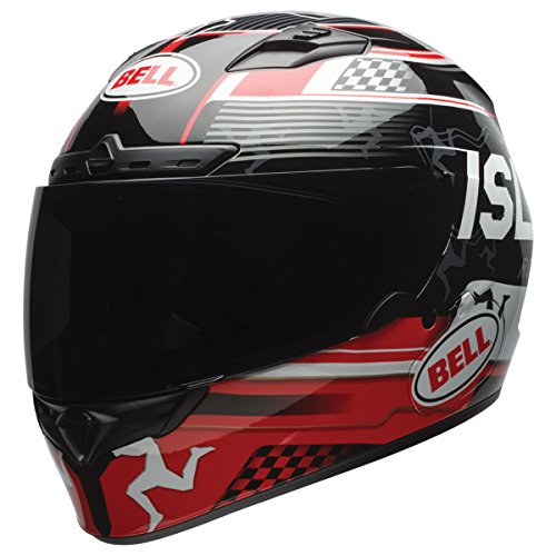 Bell Qualifier DLX Unisex-Adult Full Face Street Helmet (Isle Of Man Black/Red, X-Large) (D.O.T.-Certified) by Bell