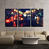 wall26 - 3 Piece Canvas Wall Art - Night City Life Through Windshield: Cars, Lights and Rain, Vintage Style Photography - Modern Home Decor Stretched and Framed Ready to Hang - 24''x36''x3 Panels