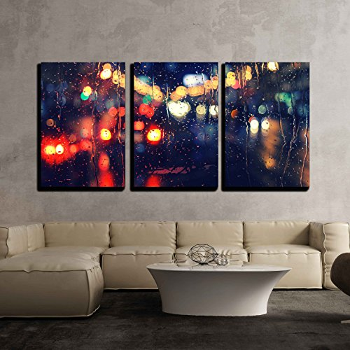 Night City Life Through Windshield: Cars Lights and Rain Vintage Style Photography x3 Panels
