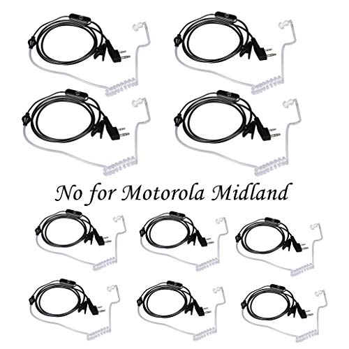 Earpiece Set - Walkie Talkies Earpieces (10 Packs) for Baofeng UV-5R BF-888S Retevis H-777 Kenwood PUXING with 2 Pins Acoustic Tube Headset with Mic