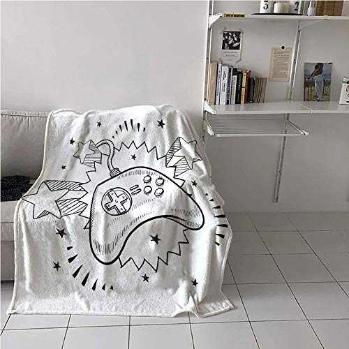 Kansas City Chiefs Video Chair - Suchashome Nursery Blanket Chair,Seventies Pop Inspired Retro Composition Doodle Video Game Controller,Oversized Travel Throw Cover Blanket,Blanket for Sofa Couch Bed 60