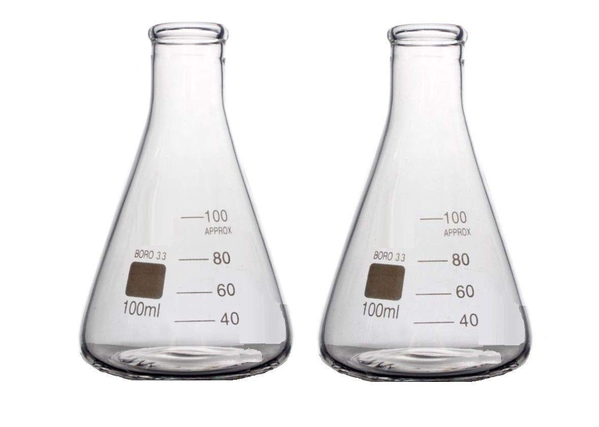 Rocwing - Borosilicate 3.3 Glass Graduated Conical Erlenmeyer Flask for Laboratory (50ml, 2 in a pack) HuiDa