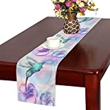 InterestPrint Hummingbird and Flower Funny Animal Art Table Runner Cotton Linen Cloth Placemat Home Decor for Home Kitchen Dining Wedding Party 16 x 72 Inches