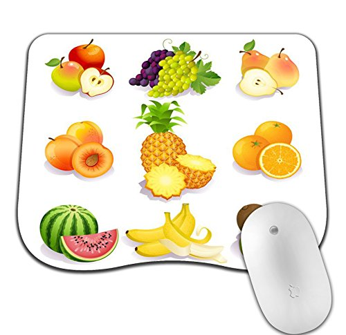 Hand Drawn Watercolor - Hand Drawn Watercolor Fruits Curve Mosue Pad Gaming Mouse Pad Non-Slip Mouse Pad