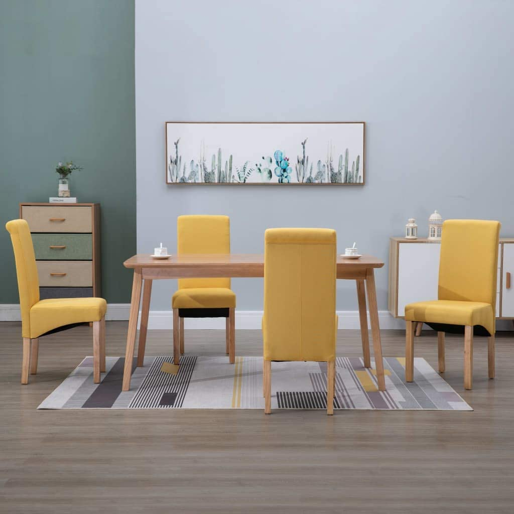 Amazon Com Dining Chairs 4 Pcs Yellow Fabric Chairs