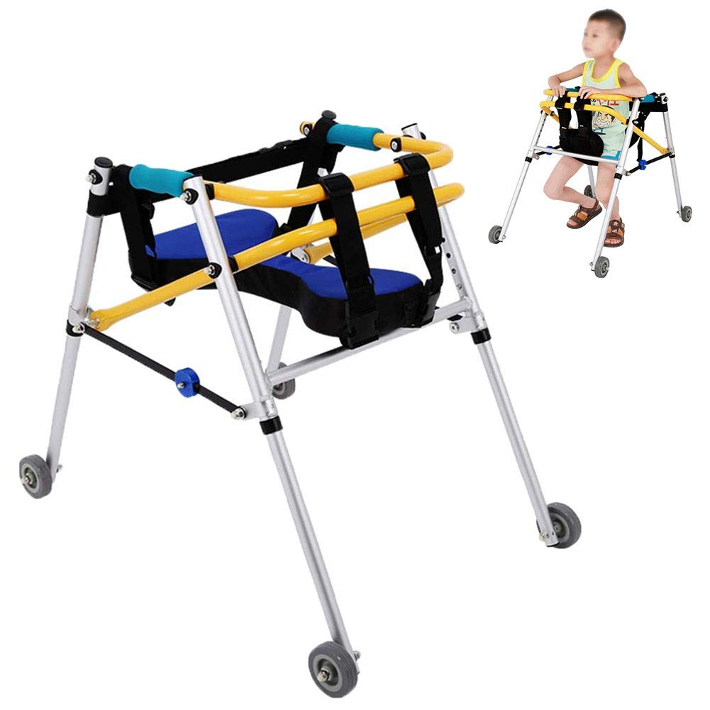 JLVNA Children's Walker - Four-Wheeled Medical Walker with Seat Folding Lightweight Children's Walker for Lower Limb Rehabilitation (Size : 1.35m-1.5m) by JLVNA