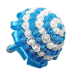 FILOL Wedding Bridal Bouquet Crystal Pearl Silk Roses Royal Blue Bridal Bridesmaid Hand Flowers Wedding,Engagement Valentines Day Decor 30
