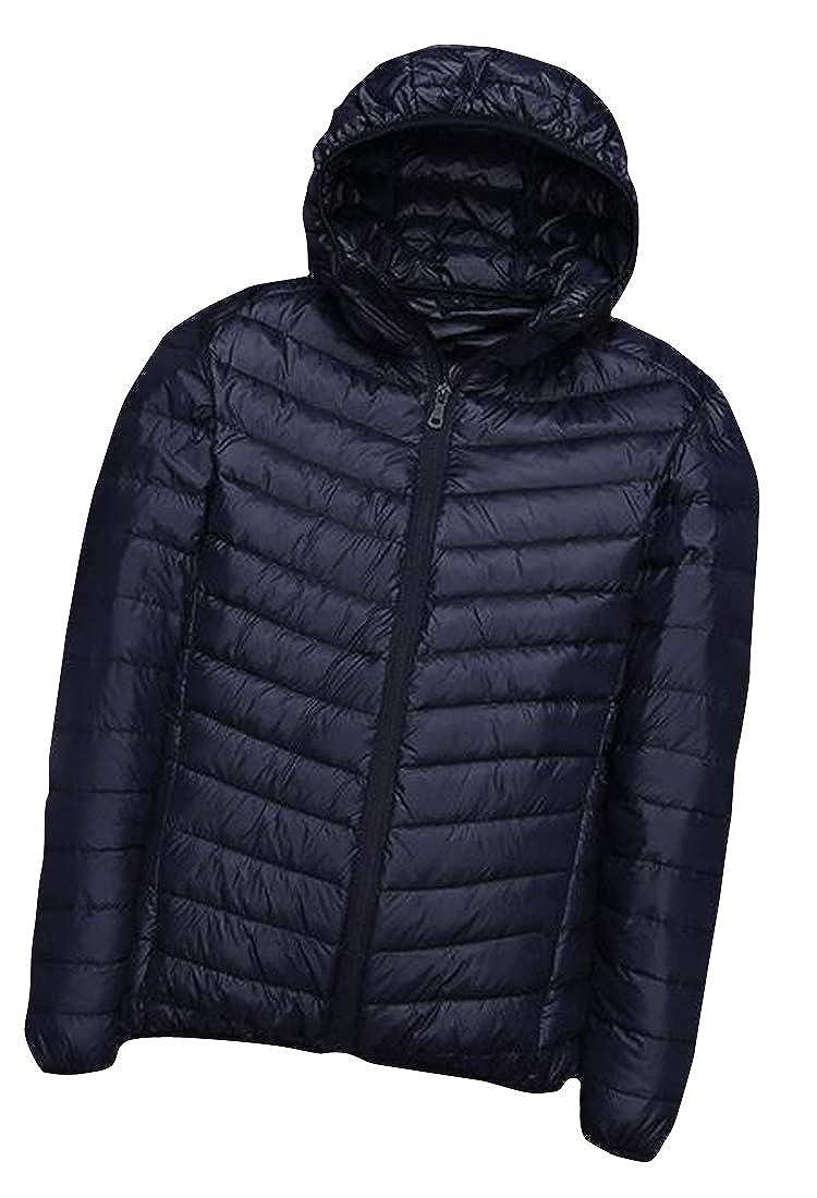 Etecredpow Mens Winter Hooded Stand Collar Short Light Weight Puffer Down Jackets