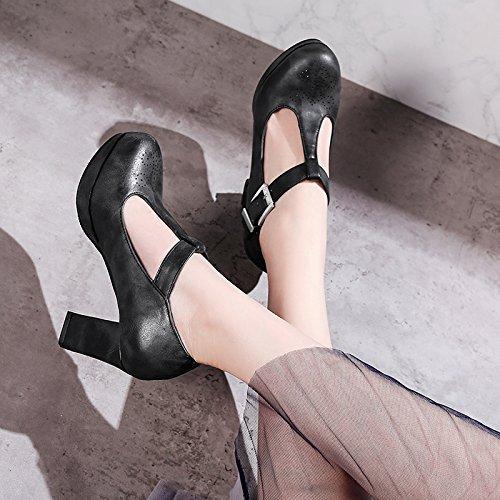 Ladies JIEEME Janes Heels High Women Platform Mary Red Party Block Heels Sexy Black Black fqqgw1d