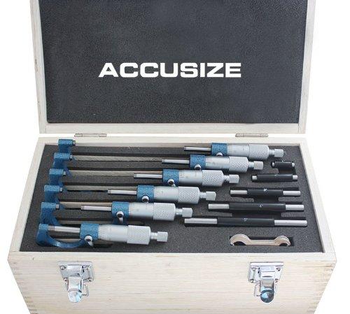 AccusizeTools - 0 - 6'' x 0.0001'' Ultra-Precision Outside Micrometers 6 Pcs/Set, #EG00-0906 (Outside Micrometer)