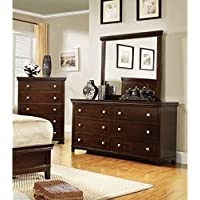 Furniture of America Tranzio Natural 2-Piece Dresser and Mirror Set Espresso Espresso Finish