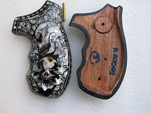Mother of Pearl Inlay on Hardwood Grip for Smith & Wesson, K/L Frame Round Butt Revolver, Thai Handmade By - Square Governors