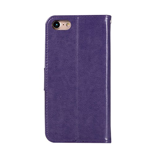iPhone 5S/SE Wallet Case,iPhone 5S/SE leather Sleeve Cover,EUWLY 3D Owl Dreamcatcher Embossing Ultra Slim Leather Flip Stand Case Cover Shockproof Magnetic Bookstyle Strap Wallet Case Cover with Card Purple
