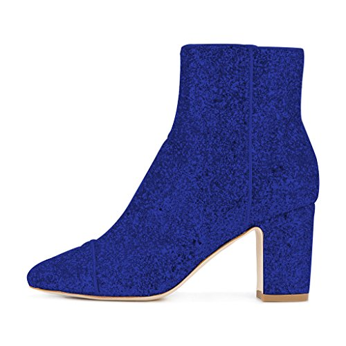 FSJ Women Round Toe Chunky High Heels Glitter Ankle Boots With Side Zipper Shoes Size 4-15 US Blue FC3KiS