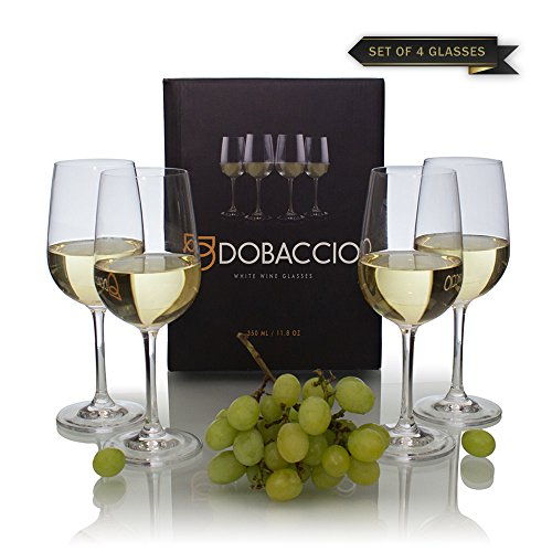 Finest Crystal Glass - Dobaccio White Wine Glasses - Finest Crystal Clear Glass Drinking Cups - Set of 4