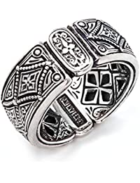 Men's Sterling Silver Diamond Pattern Ring