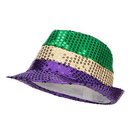 [Sequin Mardi Gras Fedora - Purple OSFM] (Hat Mardi Gras Costumes Accessories)