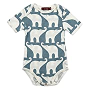 Milkbarn Organic Cotton Short Sleeve One Piece  Blue Elephant  3-6 Months