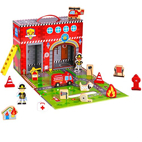 (Pidoko Kids Fire Station Toy - 19 Pcs Play Set - Magnetic Portable Box - Easy Storage - Perfect Toy Gift Set for Boys and Girls - 3 Year Old and Up - Wooden Accessories)